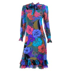Louis Feraud Vintage Purple Green Blue Pink Floral Silk Dress W/ Pleated Collar