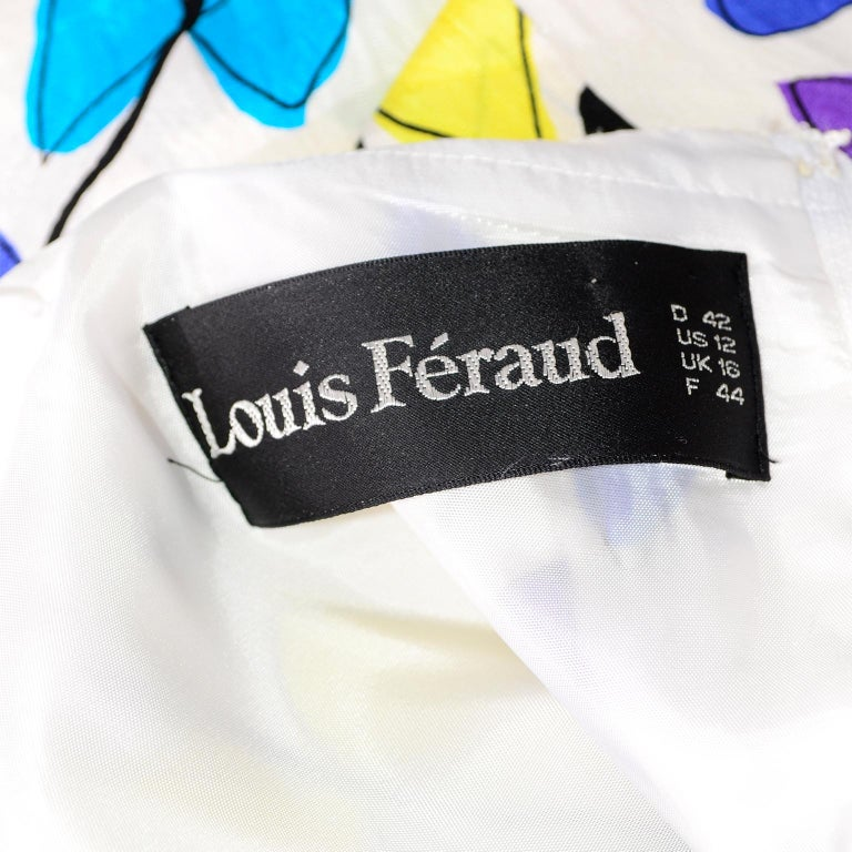 Louis Feraud Vintage Silk Dress in Colorful Kite String Bow Print For Sale 6