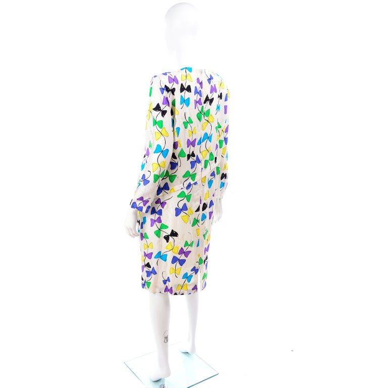 Women's or Men's Louis Feraud Vintage Silk Dress in Colorful Kite String Bow Print For Sale