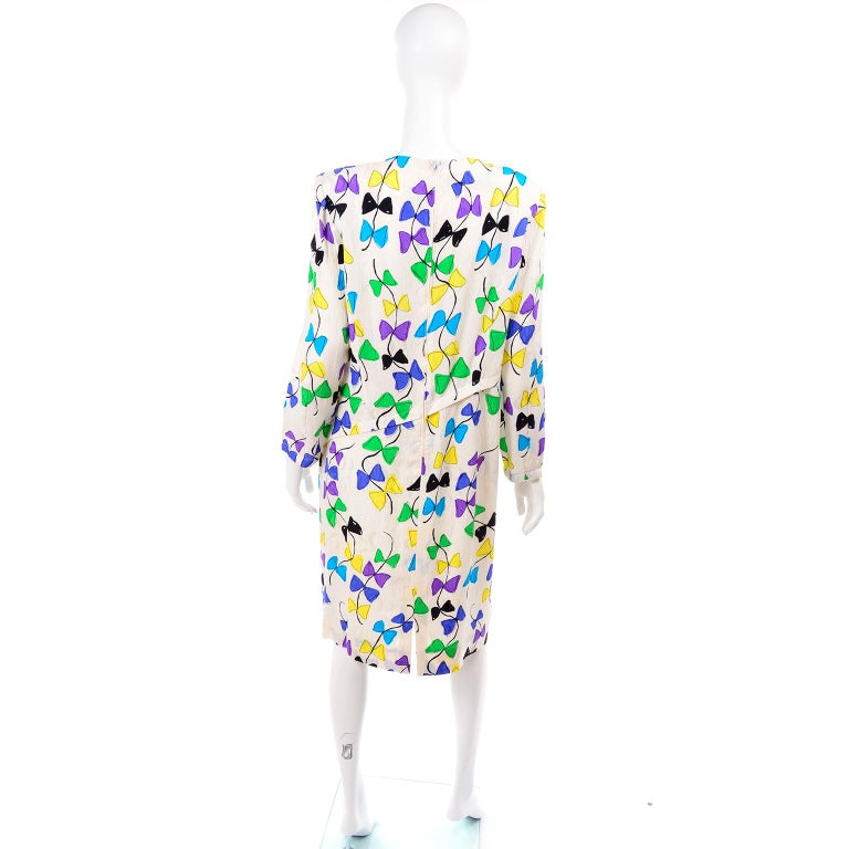 Louis Feraud Vintage Silk Dress in Colorful Kite String Bow Print For Sale 1