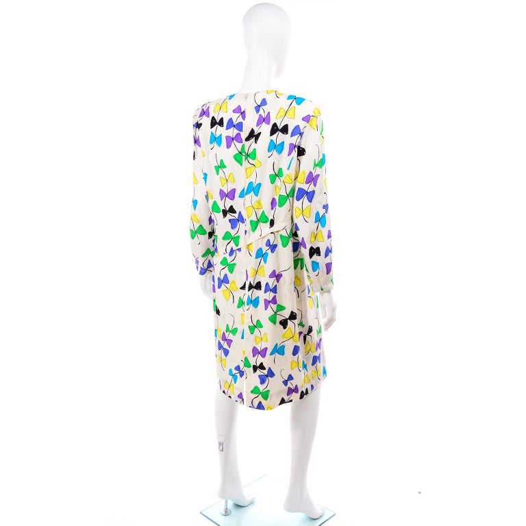 Louis Feraud Vintage Silk Dress in Colorful Kite String Bow Print For Sale 2