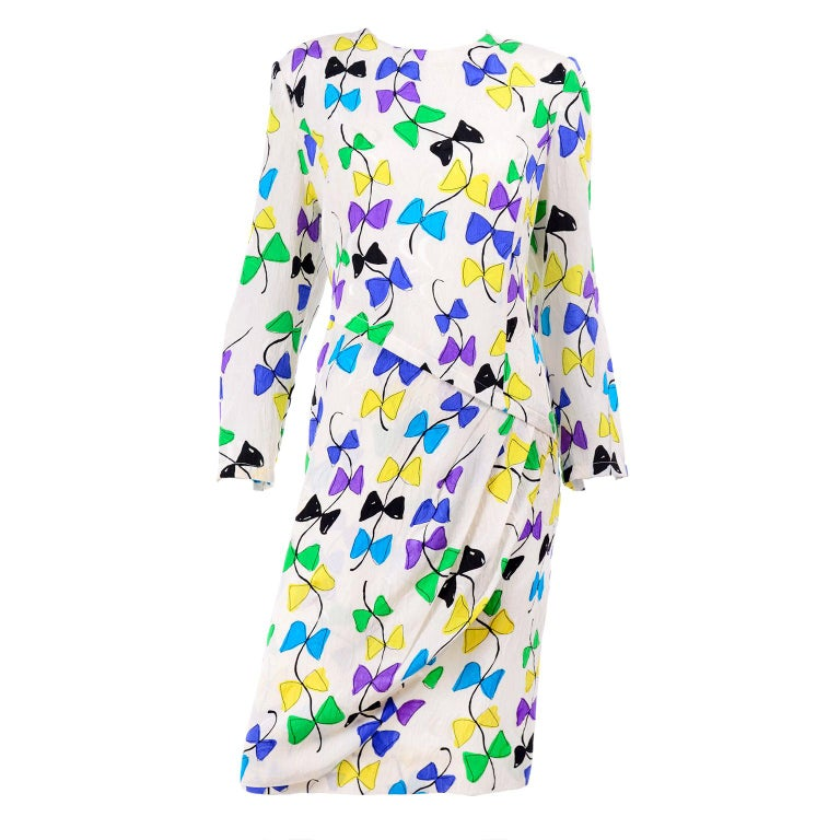 Louis Feraud Vintage Silk Dress in Colorful Kite String Bow Print For Sale
