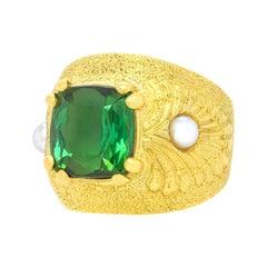 Louis Feron Fabulous Sixties Tourmaline and Pearl-Set Gold Ring
