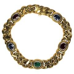 Louis Fiessler 18KY Sapphire, Emerald, Ruby Bracelet