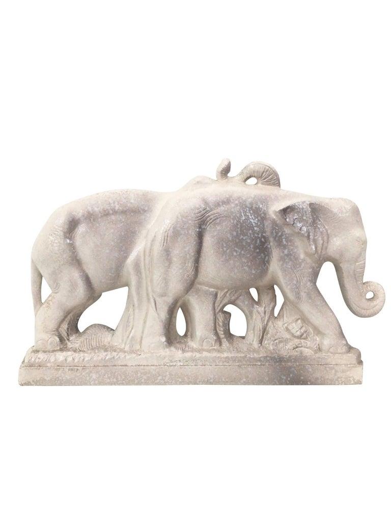 Louis Fontinelle, Cream Glazed Ceramic Elephants, France, 1930s In Excellent Condition For Sale In Baden-Baden, DE