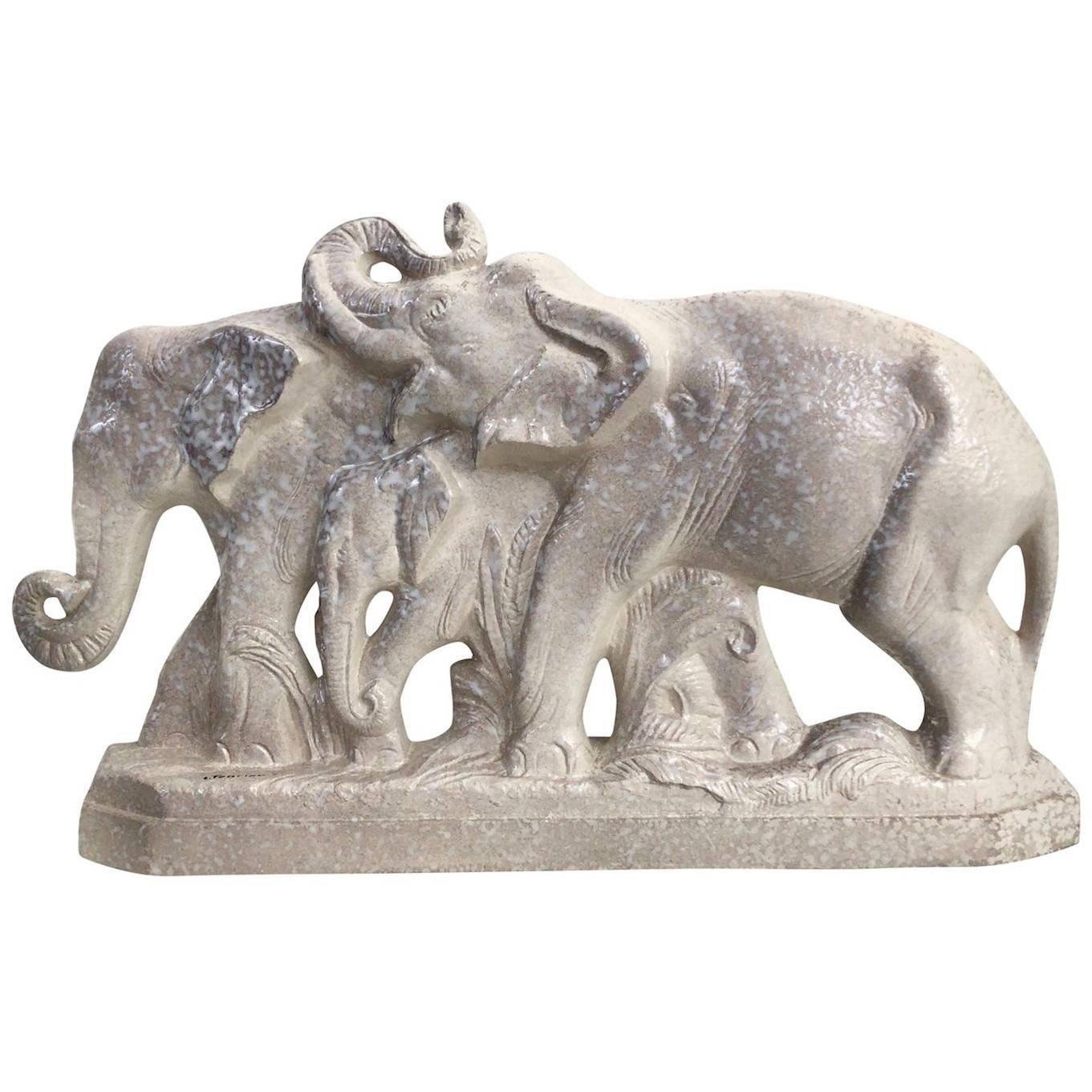 Louis Fontinelle, Cream Glazed Ceramic Elephants, France, 1930s
