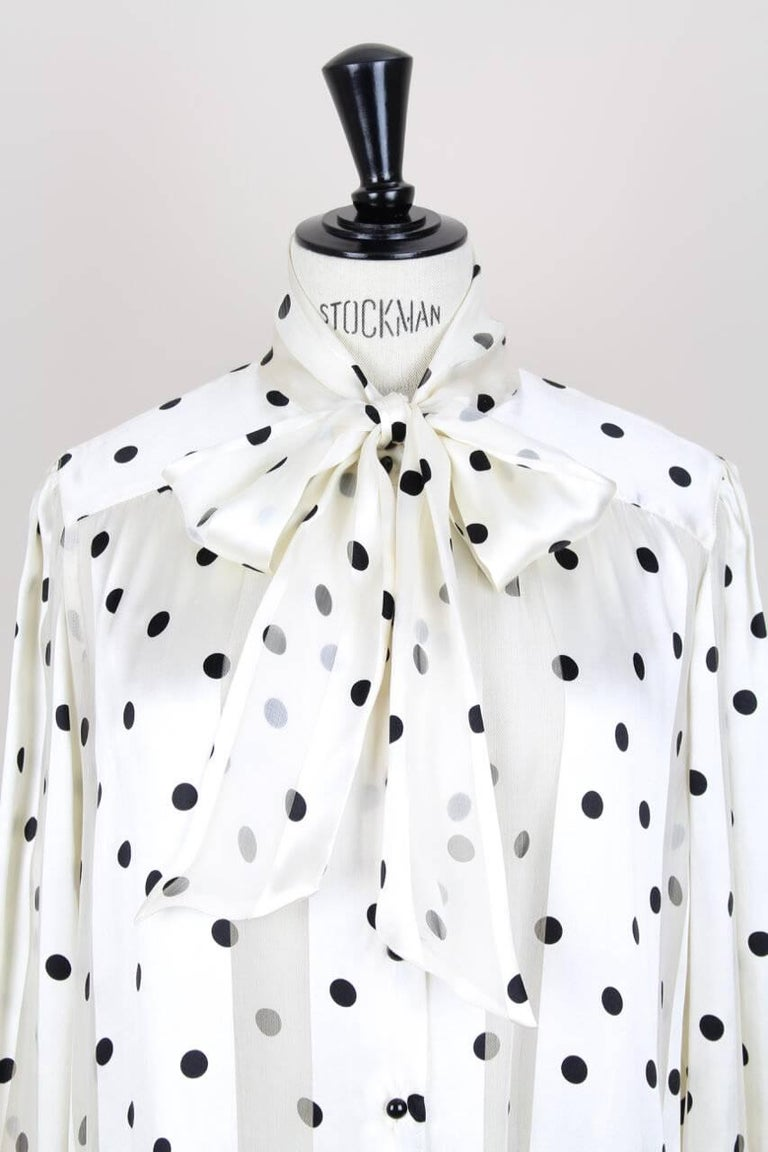 Women's Louis Féraud Cream & Black Polka Dot Silk Bow Tie Vintage Blouse, 1980s For Sale