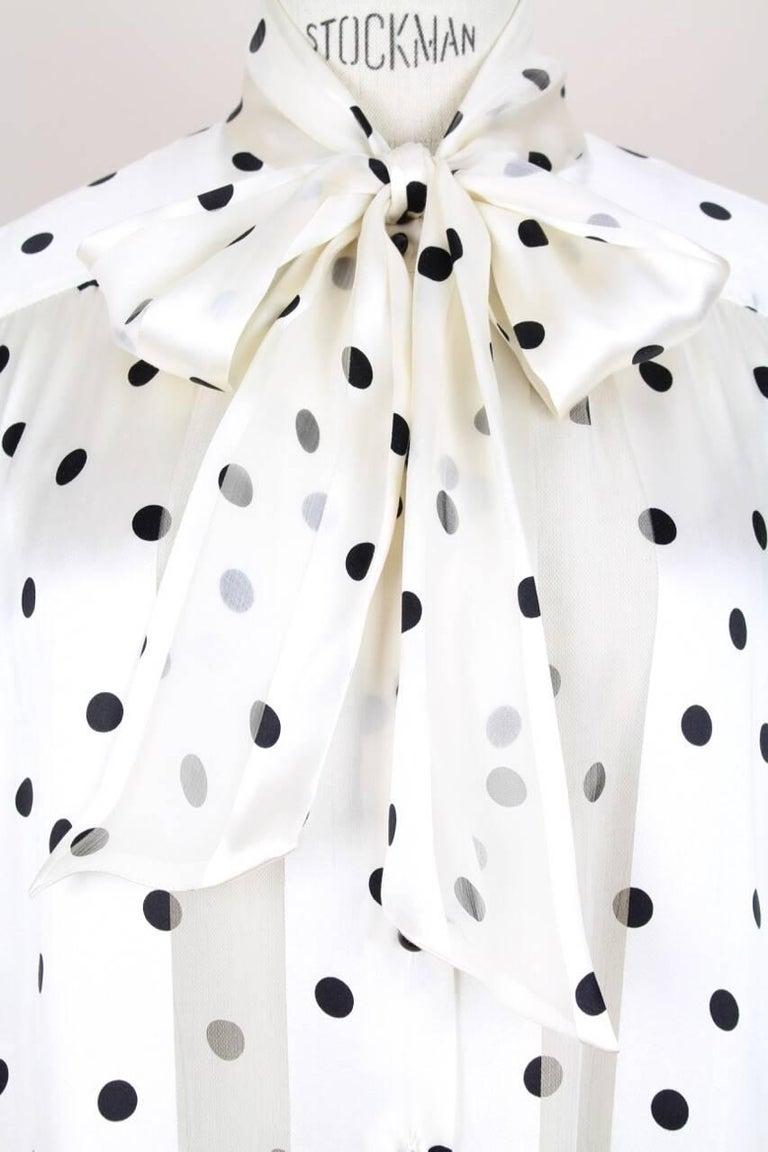 Louis Féraud Cream & Black Polka Dot Silk Bow Tie Vintage Blouse, 1980s For Sale 1