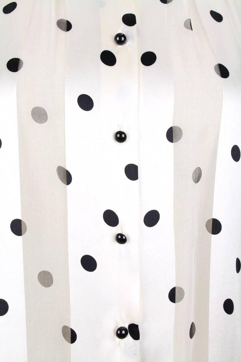 Louis Féraud Cream & Black Polka Dot Silk Bow Tie Vintage Blouse, 1980s For Sale 2