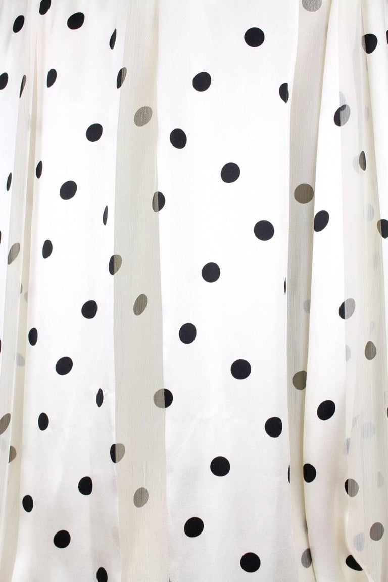Louis Féraud Cream & Black Polka Dot Silk Bow Tie Vintage Blouse, 1980s For Sale 3