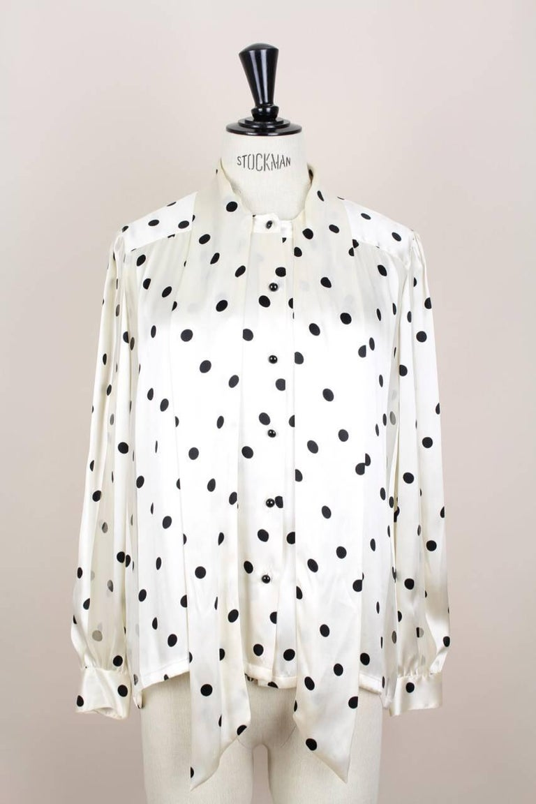 Louis Féraud Cream & Black Polka Dot Silk Bow Tie Vintage Blouse, 1980s For Sale 4