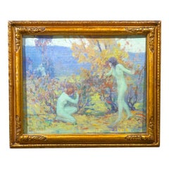 American Impressionist Nude Woman Playing Hide & Seek