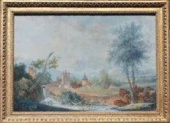 """""""Paysage avec Chateau et Cours d'Eau"""" Landscape with Castle and Stream"""