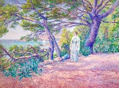 Walk by the Coast - Pointillist Oil, Figure in Coastal Landscape by Louis Gaidan