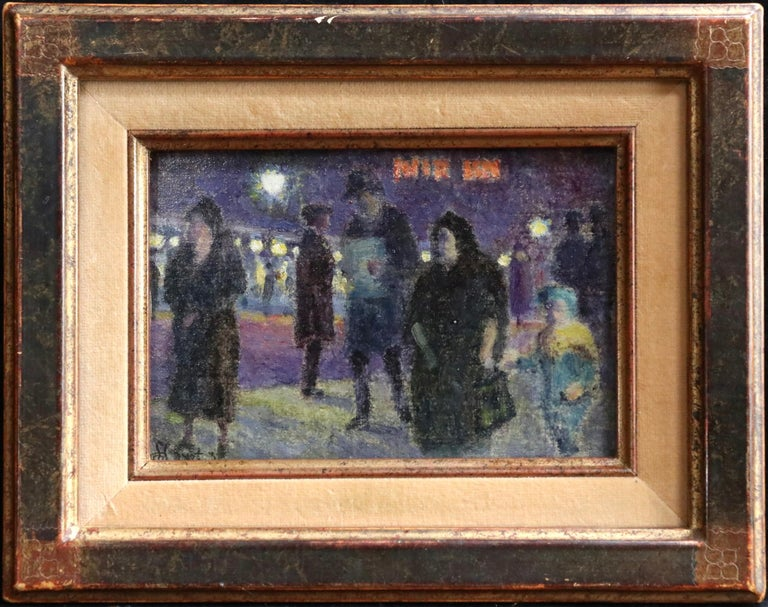 Evening in Paris - 20th Century Oil, Figures in Cityscape at Night - Louis Hayet 2