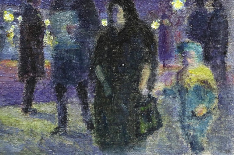 Evening in Paris - 20th Century Oil, Figures in Cityscape at Night - Louis Hayet 3