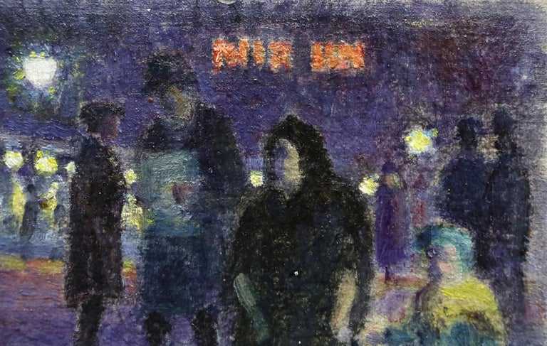 Evening in Paris - 20th Century Oil, Figures in Cityscape at Night - Louis Hayet 4