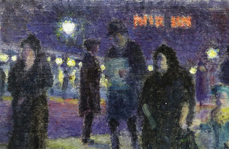 Evening in Paris - 20th Century Oil, Figures in Cityscape at Night - Louis Hayet 5
