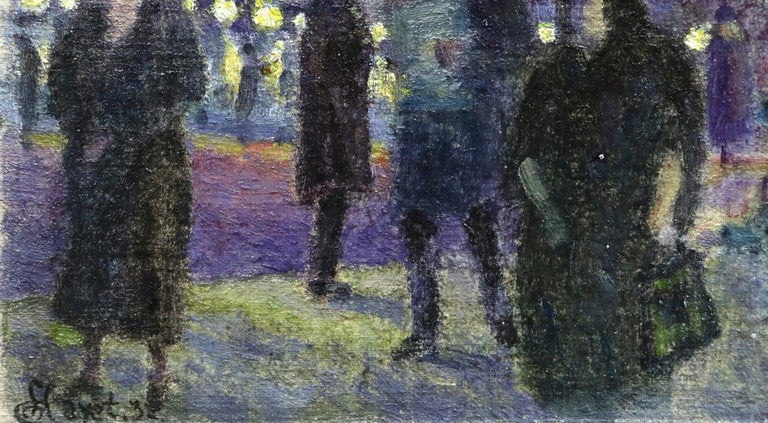 Evening in Paris - 20th Century Oil, Figures in Cityscape at Night - Louis Hayet 6