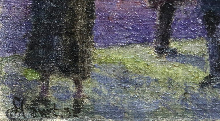 Evening in Paris - 20th Century Oil, Figures in Cityscape at Night - Louis Hayet 7