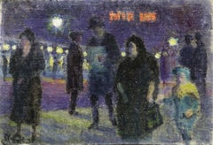 Evening in Paris - 20th Century Oil, Figures in Cityscape at Night - Louis Hayet
