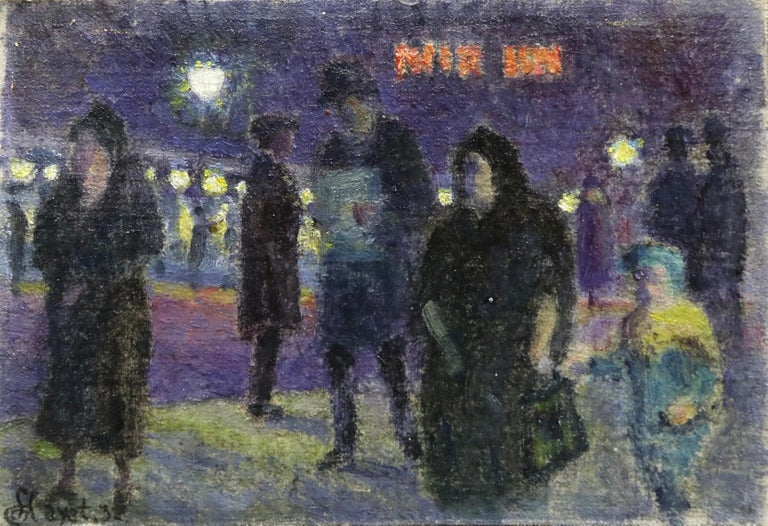 Evening in Paris - 20th Century Oil, Figures in Cityscape at Night - Louis Hayet 1