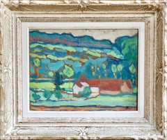 Landscape - 19th/20th Century Post-Impressionism, Farmhouse in Hills by L Hayet