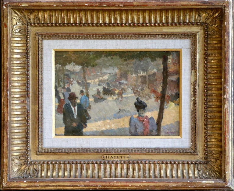 Les Grands Boulevards - 19th Century Oil, Figures in Cityscape by Louis Hayet For Sale 1