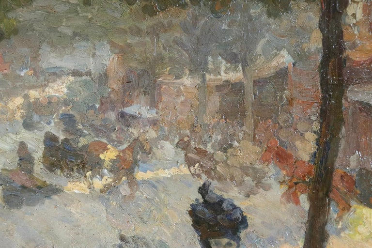 Les Grands Boulevards - 19th Century Oil, Figures in Cityscape by Louis Hayet For Sale 2