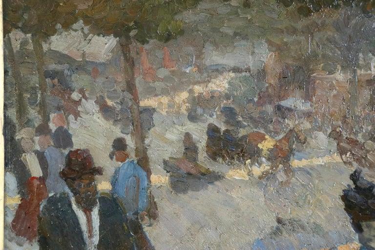 Les Grands Boulevards - 19th Century Oil, Figures in Cityscape by Louis Hayet For Sale 3