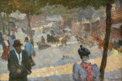 Les Grands Boulevards - 19th Century Oil, Figures in Cityscape by Louis Hayet