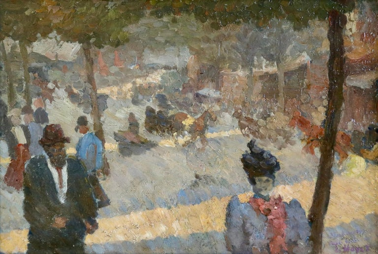 Oil on panel circa 1890 by Louis Hayet depicting elegant figures and horses and carts in Les Grands Boulevards. Signed lower right and titled verso. Framed dimensions are 12.25 inches high by 15.50 inches wide.  Louis Hayet had a difficult and