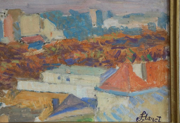 Rooftops of Paris from Montmartre - 20th Century Oil, Landscape by Louis Hayet For Sale 2