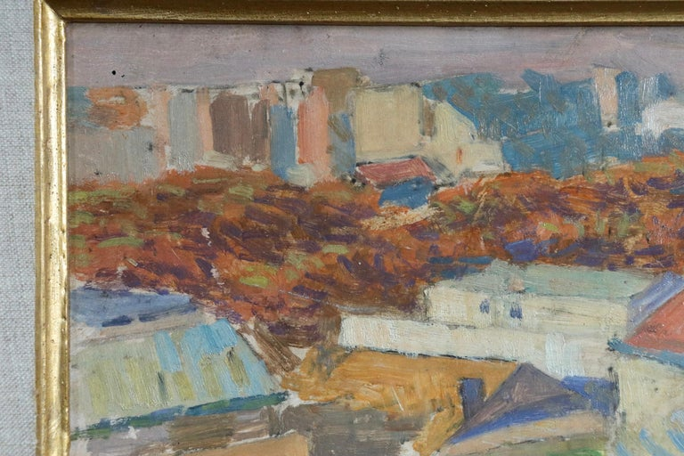 Rooftops of Paris from Montmartre - 20th Century Oil, Landscape by Louis Hayet For Sale 4