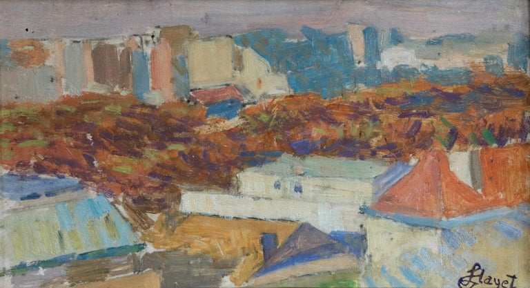 Oil on board by Louis Hayet depicting a view over Paris from Montmartre. Signed lower right with cachet of artist's estate. Framed dimensions are 9 inches high by 13 inches wide.  Louis Hayet had a difficult and itinerant childhood, due to the