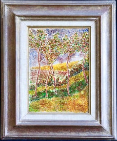 Trees in Landscape - 19th Century Divisionist Oil on Canvas, by Louis Hayet