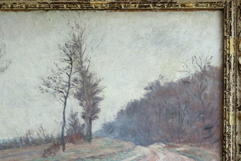 Winter Landscape - 19th Century Impressionist Oil, Landscape by Louis Hayet For Sale 1