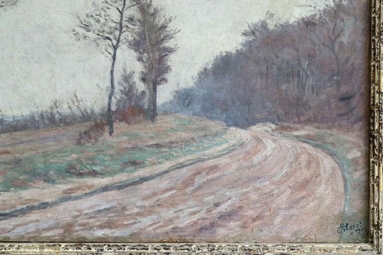Winter Landscape - 19th Century Impressionist Oil, Landscape by Louis Hayet For Sale 2