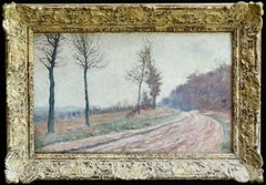 Winter Landscape - 19th Century Impressionist Oil, Landscape by Louis Hayet