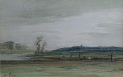 Late 19th Century Symbolist Style Henri Foreau Landscape Watercolor on Paper