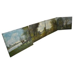 Louis Henry 19th Century Set of Four Landscape Signed Paintings