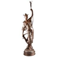 Louis Hottot, Bronze Sculpture of Beautiful Oriental Woman