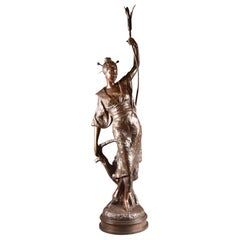 Louis Hottot, Bronze Sculpture of Beautiful Oriental Woman