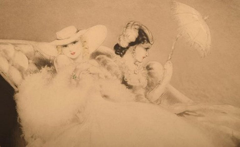 Art Deco Louis Icart '1888-1950' Etching on Paper, Two Young Women, Ca 1920 For Sale