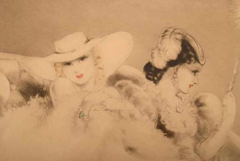 Early 20th Century Louis Icart '1888-1950' Etching on Paper, Two Young Women, Ca 1920 For Sale