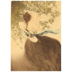 Louis Icart, Etching on Paper, Young Woman Picking Grapes, circa 1920