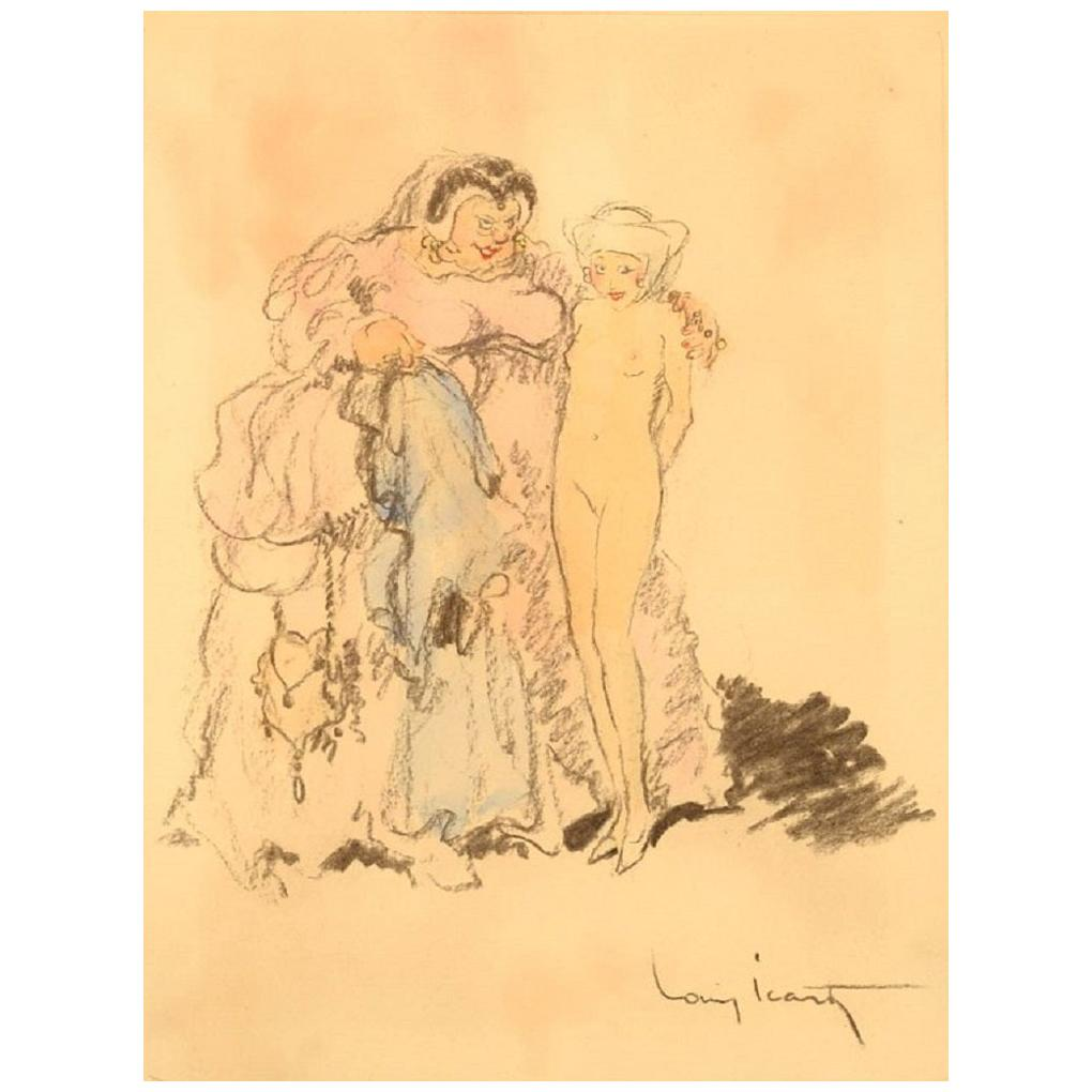 Louis Icart, Colored Pencil Drawing on Paper, 1930s-1940s