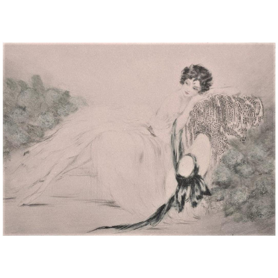 Louis Icart, Etching on Paper, Young Woman, circa 1920