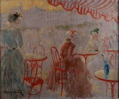 """Café Place Blanche"", 20th Century oil on canvas by French artist ""Louis Icart"""