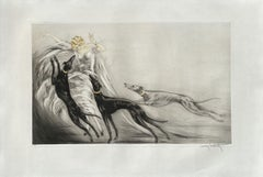 Coursing II - Elegant With Greyhounds - Original Etching Hand Signed